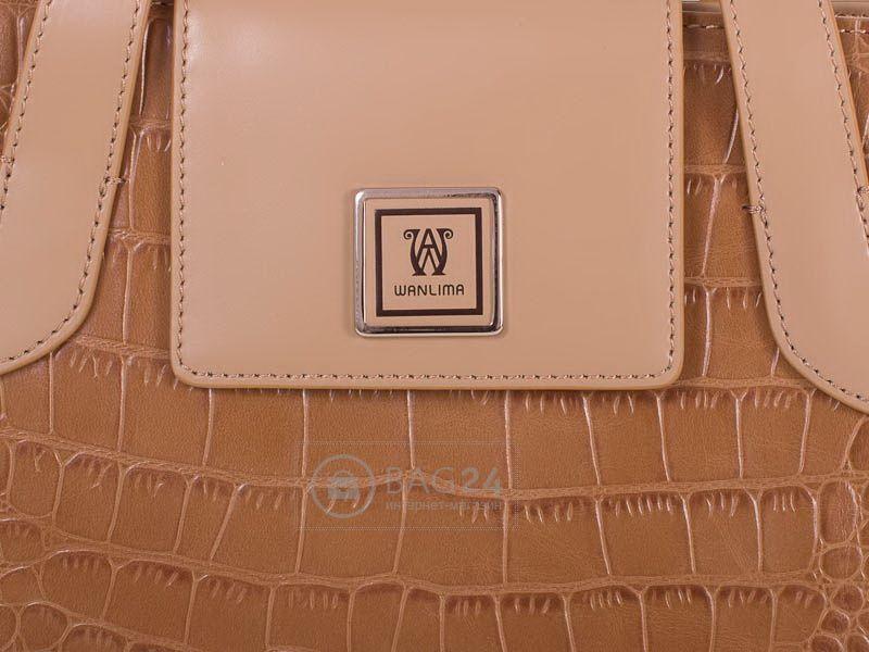 5c02e3bd221b Дорогая женская сумка из высококачественной кожи WANLIMA W12029480014-coffee