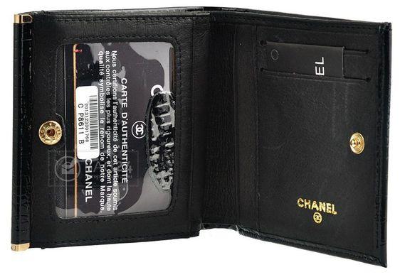 3c6643fe3add ... Компактный женский кошелек из натуральной кожи CHANEL, Черный ...