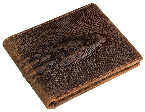906a4e13f457 Кошелек мужской Vintage 14380 фактура кожи под крокодила Коричневый,  Коричневый