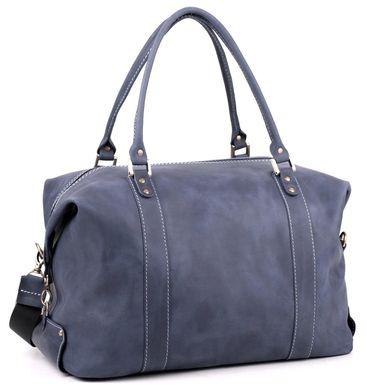 40d4224d5e1f Шикарная дорожная сумка из винтажной кожи синего цвета SHVIGEL 10094, Синий