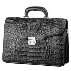 bf12cf964c45 Портфель CROCODILE LEATHER 18048 из натуральной кожи крокодила Черный,  Черный