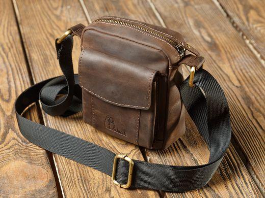 b581a13f37c1 Вместительная маленькая мужская сумка из натуральной кожи