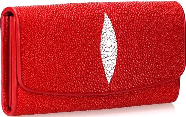 eb306aa3acf1 Кошелек женскийй STINGRAY LEATHER 18030 из натуральной кожи морского ската  Красный, Красный